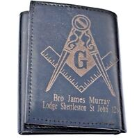 MASONIC PERSONALISED GENUINE LEATHER WALLET WITH ANY NAME, LODGE NAME & LODGE NO