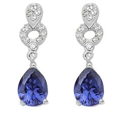 Tanzanite & Cz .925 Sterling Silver Earrings