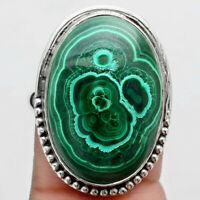 Natural Malachite Eye - Congo 925 Sterling Silver Ring s.9 Jewelry 9190