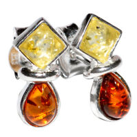 1.9g Authentic Baltic Amber 925 Sterling Silver Earrings Jewelry N-A5304