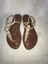 Sam Edelman Ladies Toe Post Beaded White & Brown Sandals Uk 3.5 Ref My01