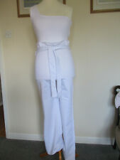 SLNGHR white bodycon paper bag style belted 1 shoulder jumpsuit S12 - new + tags