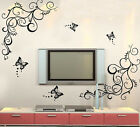 Butterfly Wisteria Flowers Vine Art VinylR TV Wall Decal Stickers Home Decor Hot