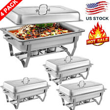 4 Pack Chafing Dish Sets Buffet Catering Stainless Steel w/Tray Folding Chafer-,