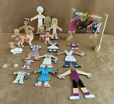 Crayon Country Kids City Slicks Wooden Paper Dolls Lot Grandma Boy Girl Clothes