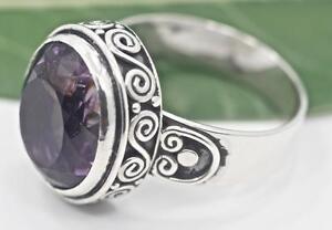 Handmade Sterling Silver .925 Swirl Style Ring w Large Oval Amethyst Sz 7,8,9,10