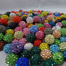 Lots 100Pc Crystal Rhinestone Pave Clay Disco Round Ball Loose Spacer Bead 10MM
