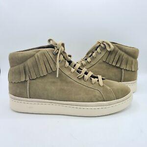 NEW $120 UGG Cali Fringe Men High Suede Sneakers SIZE12 greyish green