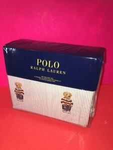 RALPH LAUREN POLO BEAR BLUE WHITE STRIPED 100% COTTON KING FITTED SHEET 4PCS SET
