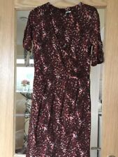 Next Size 10 Short Sleeved Animal Print Brown Black And Peach Dress
