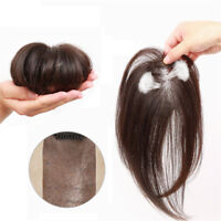 Clip in 100% Human Hair Topper Piece Thin Air Bangs Fringe Remy Human Hairpiece