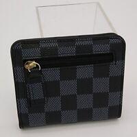 Women's Gray Checkered Vegan Leather Bi-Fold Wallet