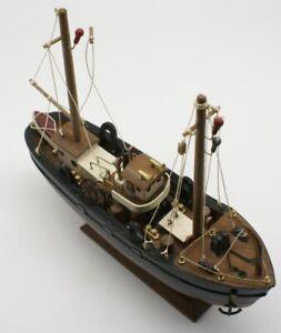 Display model wooden trawler. Black Very highly detailed but needs minor repair.