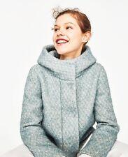 ZARA Hooded Jacket Short Wool Coat, Turquoise, Size XS