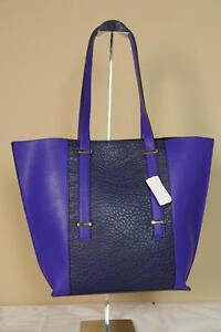Neiman Marcus Color Block Tote Purple Blue 2 Tone Purse Faux Leather