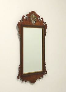 Vintage 20th Century Chippendale Style Burl Walnut Wall Mirror