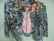 Hearts of Palm Petite Button Front Cropped Jacket Multi-Color Blue Green Sz 12P
