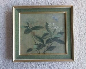 """Asian - Flowers & Leaves Framed Print - Signed - Matted - 11 1/2"""" or 29cm Square"""
