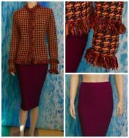 St John Collection Knits Purple Jacket Skirt L 12 14 2pc Suit Fringes Multicolor