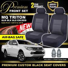 Premium BLACK Front Seat Covers Mitsubishi MQ Triton DUAL CAB 1/2015-18 GLS GLR
