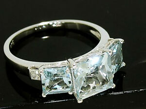R158 Genuine 9K White Gold Natural AQUAMARINE & Diamond Trilogy Ring size M