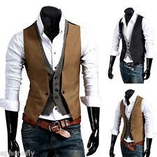 Uomo Panciotto Vestito casual Suit Vest Formale Scheletrico Slim Fit Gilet Moda