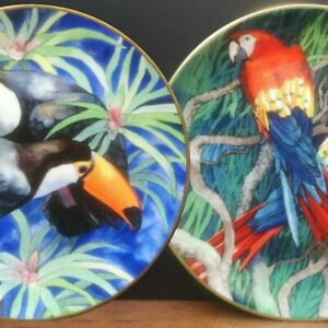 DECORATIVE PLATES BIRDS TROPICAL WALL SET COLLECTABLE TOUCAN PARROT WEDGWOOD