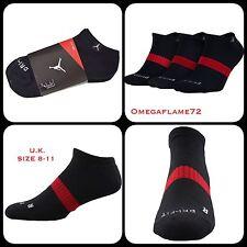 Nike Jordan ras du cou Sport Trainer Socks UK 8-11, EU 42-46 NOIR X 3 Paires SX5243-01