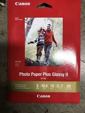 """NEW Canon Inkjet Photo Paper Plus Glossy II PP-301 20 Sheets 5"""" x 7"""" High Gloss"""