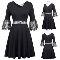 Summer Dress Women Flare Swing Pleated Lace Bridesmaid Casual A Line 3/4 Sleeve