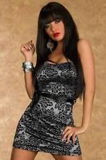 Vestito donna abito sexy Donna argento e pizzo nero Clubwear party feste