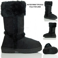 NEW WOMENS LADIES FLAT FULLY FUR LINED SNUG MID CALF BOOTS SHOES  SIZE 3 4 5 6 7