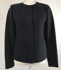 Vince Sz 4 Blue Wool Blend Lined Snap Closure Blazer Womens 189