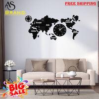 Luxury World Map Modern Wall Clock With Home Décor Big Wall Art Gift Watch FS