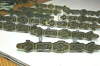 "Lot of 10 Brass Drawer Pulls Handles MCM Retro Geometric Art Deco w Screws 6.25"""