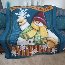 "Gold Coast Snowman Fleece Throw Blanket Size 52"" x 62"""