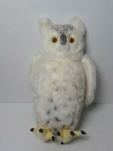 """Hansa Spotted Snowy Snow Owl 16"""" Plush with Rotating Head"""