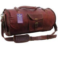 """21""""x11x11 Mens Vtg Genuine Leather Carry On Weekender Gym Duffle Shoulder Bag"""
