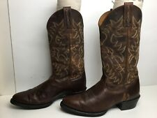 VTG MENS ARIAT ATS COWBOY BROWN BOOTS SIZE 9 D
