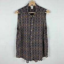 H&M Womens Top Blouse 12 Multicoloured Sleeveless Collared Button Front
