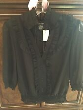 3/4 Sleeve Button Up  Black Sheer Top / Blouse with Ruffles  -  Size L (Large)