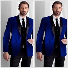 Men's Blue Velvet Blazer Tuxedo Suit Jacket Groom Wedding Dinner Prom Suit