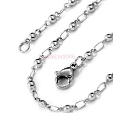 Silver Stainless Steel Round Bead Ball & Cable Link Necklace Chain 22 Inch Long
