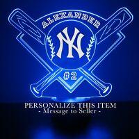 New York Yankees MLB Baseball Personalized FREE Light Up 3D Illusion LED Light