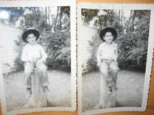 "2 5""x 3 1/2"" PHOTO 1954 BOY AS COWBOY toy guns holster Black & White photograph"