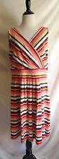 Lands End Large Preppy Striped Surplice Jersey Pleated Stretch Career Dress