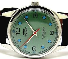 hmt pilot hand winding men's steel green dial vintage india run order watch