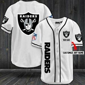 RAIDERS WHITE Fanmade AOP Baseball Jersey XS-4XL