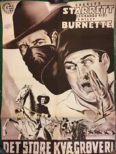 Durango Kid Starrett Burnette 1951-52 Vtg Original Danish Cinema Movie Poster