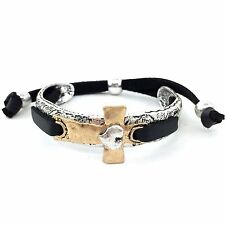 Western Cowgirl Tritone Hammered Gold Heart Silver Cross Leather Bracelet Silver
